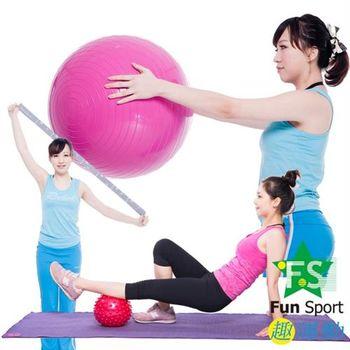 Fun Sport 平面抗力球65cm+小抄伸展帶+20cm顆粒球