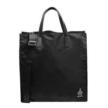 PRADA TESSUTO SAFFI經典PORTER門僮浮雕牛皮提把尼龍手提/斜背購物包(黑色)