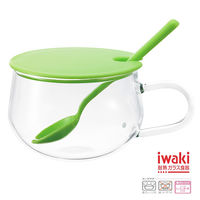 【iwaki】耐熱玻璃湯杯附匙-綠
