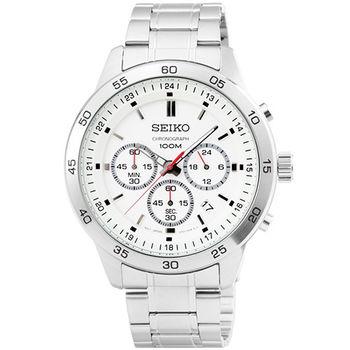 SEIKO精工超霸三眼計時賽車錶-銀面 / SKS515P1
