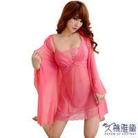 久慕雅黛 粉紅佳人蕾絲花邊柔紗三件式睡衣組