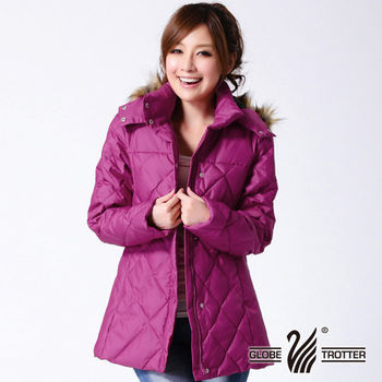 【遊遍天下】女款極暖JIS90%羽絨中長版菱格防風羽絨連帽外套A063(3色)