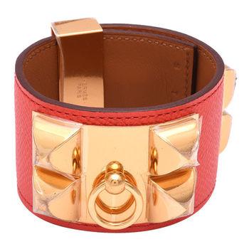 HERMES collier de chien金屬鉚釘荔枝紋小牛皮寬版手環(S-粉紅X金)