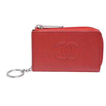 CHANEL 經典雙C LOGO荔枝紋牛皮L型拉鍊鑰匙零錢包(紅)