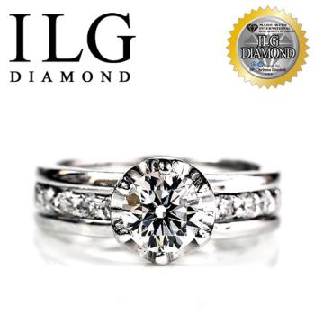 ILG鑽-頂級八心八箭擬真鑽石戒指-完美情人款 RI021 主鑽約1克拉 結婚求婚首款