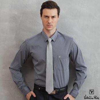 Valentino Rudy范倫鐵諾.路迪 【修身版】長袖襯衫-深藍直條-暗釘釦
