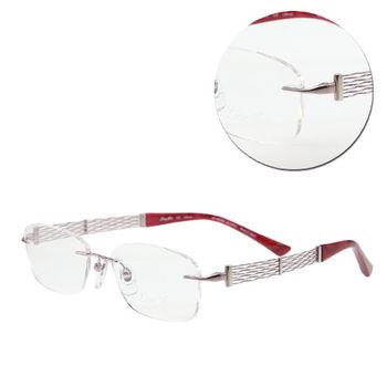 【LineArt CHARMANT】EX鈦-Opera氣質長方無框粉色光學眼鏡(XL2047-PK)