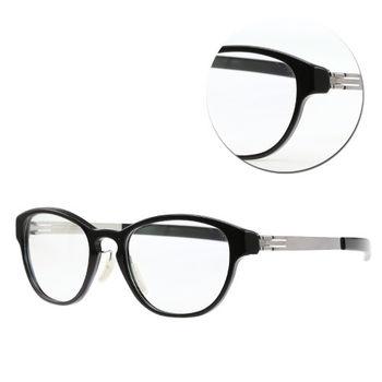 【ic!berlin】德國薄鋼方框黑銀光學眼鏡( Linearity-Chrome)