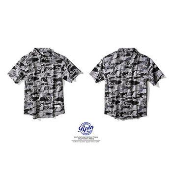 Reputation LmageStraightCamouflageShirts-夏日直紋迷彩襯衫-黑-行動