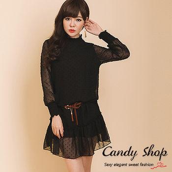 Candy小舖 甜美雪紡透膚立領小花朵點綴洋裝 現購+預購 3色選