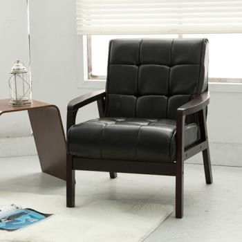 日安家居 GODYVA葛第法古著風實木扶手椅/單人皮沙發