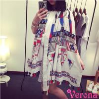 【Verona】幾何風情巴黎紗防曬沙灘巾空調披肩(175 * 100 cm)