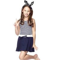 【沙兒斯】時尚經典條紋女童連身裙泳裝NO.B88417-1(現貨+預購)
