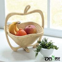 【OMORY】蘋果造型竹製可折疊小物/收納/水果籃
