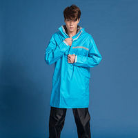 奧德蒙戶外機能特仕OutPerform-頂峰360度全方位太空背包雨衣-短版-湖藍-單上衣+單褲