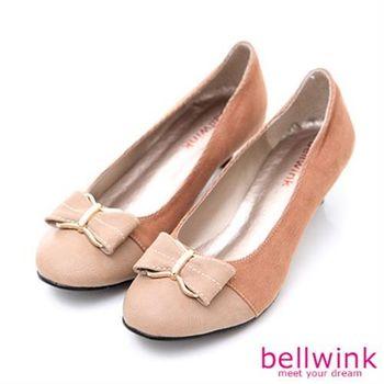 【bellwink】B9001CL日系拼接色朵結低跟鞋-駝色
