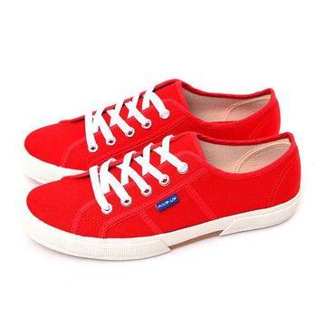 FIVE UP(女) 簡約質感休閒帆布鞋-紅