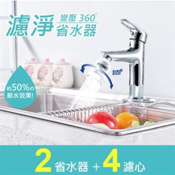神膚奇肌廚房衛浴龍頭濾淨變壓省水器(2入省水器+濾心4入組)