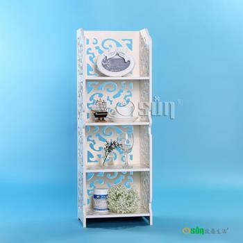 【Osun】DIY木塑板白色雕花四層櫃(CE-178-8030)