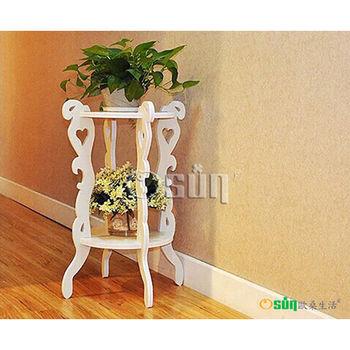 【Osun】木塑板 歐式白色雕花圓形花架(CE-178-圓形花架)