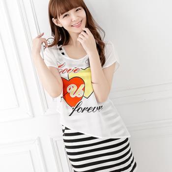 Wonderland ST621-4 戀愛心情牛奶絲罩衫洋裝2件組