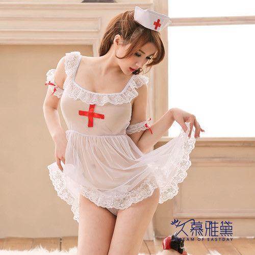 久慕雅黛 白色天使4件式柔紗小護士角色扮演服