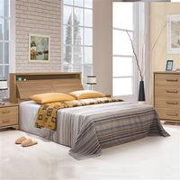 【時尚屋】[UZ6]順益淺胡桃6尺加大雙人床UZ6-45-3+45-4不含床頭櫃-床墊