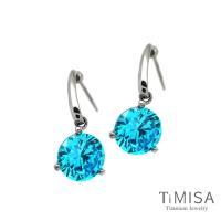 【TiMISA】花妍朵朵-水藍 純鈦耳環一對