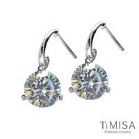 【TiMISA】花妍朵朵-透亮白 純鈦耳環一對