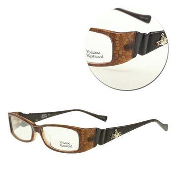 【Vivienne Westwood】時尚長方膠框棕色光學眼鏡(mod.VW226-C3)