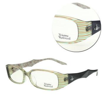 【Vivienne Westwood】時尚長方綠條紋光學眼鏡(mod.VW223-C3)