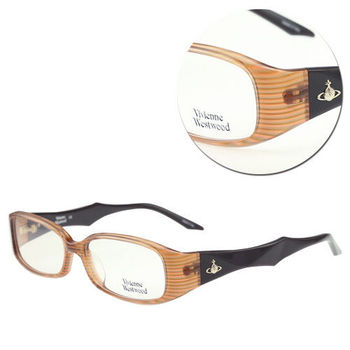 【Vivienne Westwood】時尚長方橘條紋光學眼鏡(mod.VW223-C2)