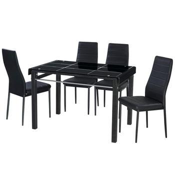 【AT HOME】馬可3.6尺桌椅組(一桌四椅)2色可選