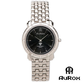 AuRox歐銳時 精典都會超薄不銹鋼石英鑽錶(AR21026-黑)