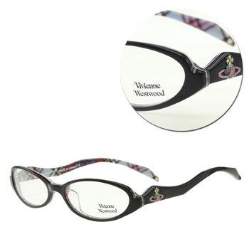 【Vivienne Westwood】膠框橢圓黑色格紋光學眼鏡(mod.VW236-C1)