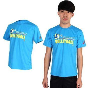【ASICS】男排球短袖T恤- 圓領 亞瑟士 水藍黃  抗UV