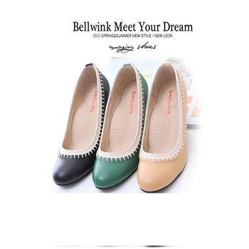 bellwink【B9116】日系皮革車線編織圓頭跟鞋-黑色/綠色/駝色