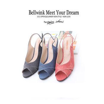 bellwink【B9118】皮革交錯紋露趾扣環低跟鞋-藍色/紅色/灰色