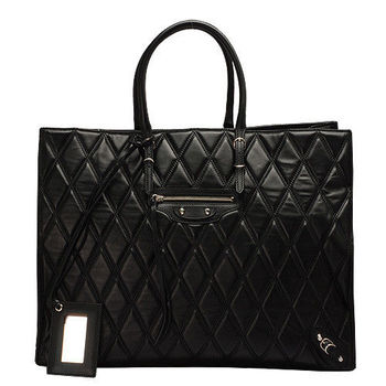 BALENCIAGA 巴黎世家PAPIER OFFICE小銀釦菱格紋羊皮肩背包(黑)