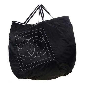 CHANEL SPORT系列簡潔俐落尼龍手提包(黑色)