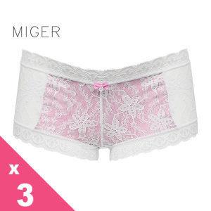 [MIGER密格內衣]浪漫甜美蕾絲中低腰平口內褲-白色+黑色+粉黃色