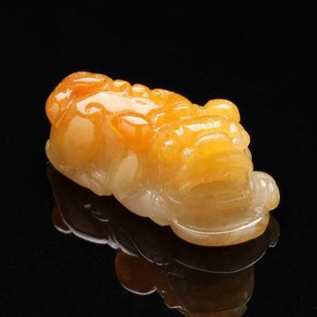 【雅紅珠寶】專門咬錢天然金黃翡翠項鍊-貔貅