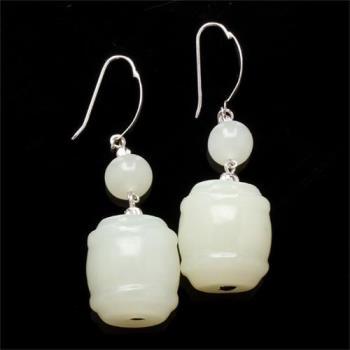 【雅紅珠寶】一見鐘情天然新疆和闐羊脂白玉耳環