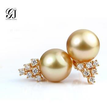 [晉佳珠寶] Gemdealler Jewellery  圓潤優雅奪目  珍藏明星款 10.2mm南洋金珍珠耳環