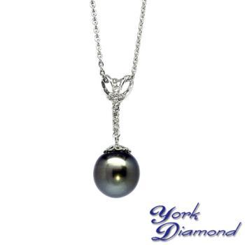 天然大溪地南洋黑珍珠真鑽項鍊/墜子(12.7mm) 約克鑽石
