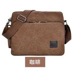 窩自在★大尺寸多功能多夾層帆布包/斜肩包-咖啡色