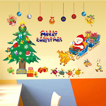 窝自在★DIY无痕创意墙贴/壁贴-雪橇圣诞老人_AY1700(50X70)-行动