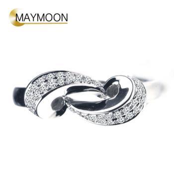 MAYMOON 18K白金心繫天然鑽石0.15ct戒指
