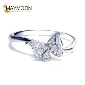 MAYMOON 18K白金蝶艷天然鑽石0.15ct戒指