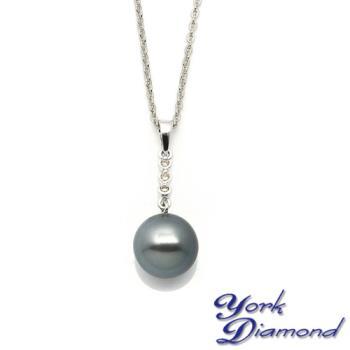 天然大溪地南洋黑珍珠真鑽項鍊/墜子(11mm) 約克鑽石